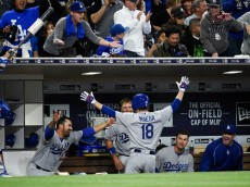 SAN DIEGO, CALIFORNIA - APRIL 06:  Kenta Maeda #18 of the Los Angeles Dodgers celebrates in the dugout after hitting a solo home run during the foufth inning of a baseball game against the San Diego Padres at PETCO Park on April 6, 2016 in San Diego, California.  (Photo by Denis Poroy/Getty Images)