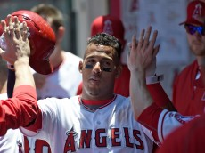 ANAHEIM, CA - MAY 22:  Yunel Escobar #6 of the Los Angeles Angels of Anaheim returns to the dugout after scoring in the third inning against the Baltimore Orioles at Angel Stadium of Anaheim on May 22, 2016 in Anaheim, California.  (Photo by Lisa Blumenfeld/Getty Images)