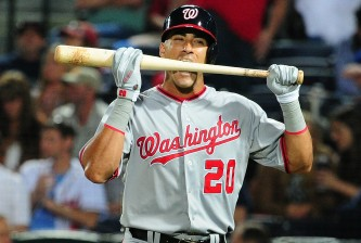 ATLANTA, GA - APRIL 11: Ian Desmond #20 of the Washington Nationals reacts after striking out in the 8th inning against the Atlanta Braves at Turner Field on April 11, 2014 in Atlanta, Georgia. (Photo by Scott Cunningham/Getty Images)