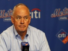 NEW YORK, NY - AUGUST 26: General Manager Sandy Alderson of the New York Mets announces that pitcher Matt Harvey has been diagnosed with a partially torn ulnar collateral ligament (UCL) on August 26, 2013 at Citi Field in the Flushing neighborhood of the Queens borough of New York City. (Photo by Rich Schultz/Getty Images)