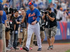 PORT ST. LUCIE, FL - MARCH 06: Matt Harvey #33 of the New York Mets walks to the dugout before the first inning of the game against the Detroit Tigers at Tradition Field on March 6, 2015 in Port St. Lucie, Florida. (Photo by Rob Foldy/Getty Images)