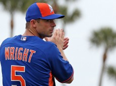 PORT ST. LUCIE, FL - MARCH 06: David Wright #5 of the New York Mets looks on before the game at Tradition Field on March 6, 2015 in Port St. Lucie, Florida.  (Photo by Rob Foldy/Getty Images)