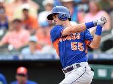 JUPITER, FL - MARCH 11:  Matt Reynolds #55 of the New York Mets swings at a pitch during the first inning of a spring training game against the Miami Marlins swings at a pitch at Roger Dean Stadium on March 11, 2015 in Jupiter, Florida.  (Photo by Stacy Revere/Getty Images)