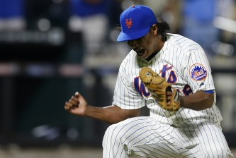 NEW YORK, NY - AUGUST 26: Jenrry Mejia #58 of the New York Mets reacts after defeating the Atlanta Braves 3-2 on August 26, 2014 at Citi Field in the Flushing neighborhood of the Queens borough of New York City. (Photo by Rich Schultz/Getty Images)