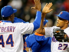 NEW YORK, NY - APRIL 22:  John Mayberry Jr. #44 and Jeurys Familia #27 of the New York Mets celebrate the win over the Atlanta Braves on April 22, 2015 at Citi Field in the Flushing neighborhood of the Queens borough of New York City.The New York Mets defeated the Atlanta Braves 3-2.  (Photo by Elsa/Getty Images)