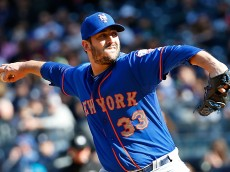 NEW YORK, NY - APRIL 25:  Starting pitcher Matt Harvey #33 of the New York Mets throws a pitch in the first inning against the New York Yankees on April 25, 2015 at Yankee Stadium in the Bronx borough of New York City.  (Photo by Nate Shron/Getty Images)