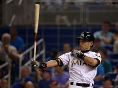 MIAMI, FL - APRIL 28:  Ichiro Suzuki #51 of the Miami Marlins hits in the fifth inning during a game against the New York Mets at Marlins Park on April 28, 2015 in Miami, Florida.  (Photo by Mike Ehrmann/Getty Images)