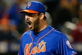 NEW YORK, NY - MAY 01:  Matt Harvey #33 of the New York Mets reacts after an inning ending double play in the seventh inning against the Washington Nationals at Citi Field on May 1, 2015 in the Flushing neighborhood of the Queens borough of New York City.  (Photo by Mike Stobe/Getty Images)