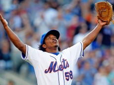 NEW YORK, NY - JULY 12:  Jenrry Mejia #58 of the New York Mets celebrates the final out of a game against the Miami Marlins at Citi Field on July 12, 2014 in the Flushing neighborhood of the Queens borough of New York City. The Mets defeated the Marlins 5-4.  (Photo by Jim McIsaac/Getty Images)