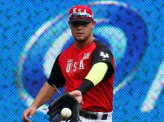 CINCINNATI, OH - JULY 12:  Michael Conforto #8 of the U.S. Team in action against the World Team during the SiriusXM All-Star Futures Game at the Great American Ball Park on July 12, 2015 in Cincinnati, Ohio.  (Photo by Rob Carr/Getty Images)