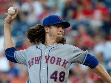 WASHINGTON, DC - JULY 21: Jacob deGrom #48 of the New York Mets throws to a Washington Nationals batter in the third inning at Nationals Park on July 21, 2015 in Washington, DC.  (Photo by Rob Carr/Getty Images)