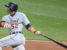BALTIMORE, MD - JULY 30:  Yoenis Cespedes #52 of the Detroit Tigers hits a two run home run in the fourth inning during a baseball game against the Baltimore Orioles at Oriole Park at Camden Yards on July 30, 2015 in Baltimore, Maryland.  The Tigers won 9-8.  (Photo by Mitchell Layton/Getty Images)