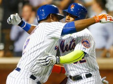 against the at Citi Field on August 12, 2015 in the Flushing neighborhood of the Queens borough of New York City.