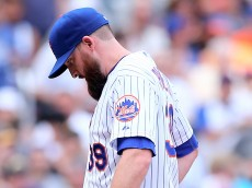 NEW YORK, NY - AUGUST 16:  Bobby Parnell #39 of the New York Mets reacts as he is pulled from the game in the seventh inning against the Pittsburgh Pirates on August 16, 2015 at Citi Field in the Flushing neighborhood of the Queens borough of New York City.The Pittsburgh Pirates defeated the New York Mets 8-1.  (Photo by Elsa/Getty Images)