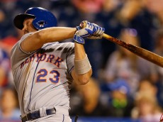 PHILADELPHIA, PA - AUGUST 26: Michael Cuddyer #23 of the New York Mets singles in the ninth inning of the game against the Philadelphia Phillies at Citizens Bank Park on August 26, 2015 in Philadelphia, Pennsylvania. The Mets won 9-4. (Photo by Brian Garfinkel/Getty Images)  *** Local Caption *** Michael Cuddyer