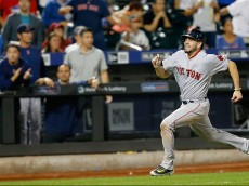 NEW YORK, NY - AUGUST 28:  Blake Swihart #23 of the Boston Red Sox runs the bases as he hits an inside the park home run in the tenth inning against the New York Mets on August 28, 2015 at Citi Field in the Flushing neighborhood of the Queens borough of New York City.  (Photo by Nate Shron/Getty Images)