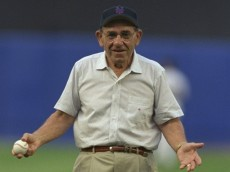 26 Jun 1998:  Former Yankee Yogi Berra throws the first pitch to start the interleague game between the New York Mets and the New York Yankees at Shea Stadium in Flushing, New York. The Yankees defeated the Mets 8-4. Mandatory Credit: Al Bello  /Allsport