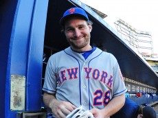 ATLANTA, GA - SEPTEMBER 13: Daniel Murphy #28 of the New York Mets celebrates after the game against the Atlanta Braves at Turner Field on September 13, 2015 in Atlanta, Georgia. (Photo by Scott Cunningham/Getty Images)