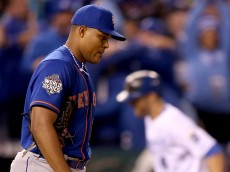 KANSAS CITY, MO - OCTOBER 27:  Jeurys Familia #27 of the New York Mets reacts after Alex Gordon #4 of the Kansas City Royals hits a solo home run in the ninth inning during Game One of the 2015 World Series at Kauffman Stadium on October 27, 2015 in Kansas City, Missouri.  (Photo by Doug Pensinger/Getty Images)