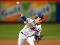 NEW YORK, NY - OCTOBER 30:  Noah Syndergaard #34 of the New York Mets pitches in the first inning against the Kansas City Royals during Game Three of the 2015 World Series at Citi Field on October 30, 2015 in New York City.  (Photo by Pool/Getty Images)