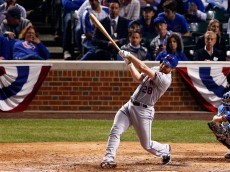 CHICAGO, IL - OCTOBER 21:  Daniel Murphy #28 of the New York Mets hits a two run home run in the eighth inning against Fernando Rodney #57 of the Chicago Cubs during game four of the 2015 MLB National League Championship Series at Wrigley Field on October 21, 2015 in Chicago, Illinois.  (Photo by David Banks/Getty Images)