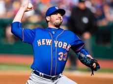 CLEVELAND, OH -  APRIL 16: Starting pitcher Matt Harvey #33 of the New York Mets pitches during the first inning against the Cleveland Indians at Progressive Field on April 16, 2016 in Cleveland, Ohio. (Photo by Jason Miller/Getty Images)