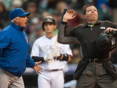 DENVER, CO - MAY 14:  Terry Collins #10 of the New York Mets is thrown out of the game by umpire Carlos Torres after arguing that Tony Wolters #14 of the Colorado Rockies was out with a strike out in the third inning of a game   at Coors Field on May 14, 2016 in Denver, Colorado.  (Photo by Dustin Bradford/Getty Images)