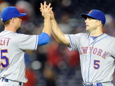 WASHINGTON, DC - MAY 23:  David Wright #5 of the New York Mets celebrates with Logan Verrett #35 after a 7-1 victory against the Washington Nationals at Nationals Park on May 23, 2016 in Washington, DC.  (Photo by Greg Fiume/Getty Images)