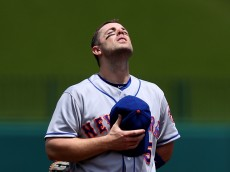 WASHINGTON, DC - MAY 25: David Wright #5 of the New York Mets has a moment to himself before playing against the Washington Nationals at Nationals Park on May 25, 2016 in Washington, DC. (Photo by Patrick Smith/Getty Images)