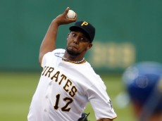 PITTSBURGH, PA - JUNE 07:  Juan Nicasio #12 of the Pittsburgh Pirates pitches in the first inning during the game against the New York Mets at PNC Park on June 7, 2016 in Pittsburgh, Pennsylvania.  (Photo by Justin K. Aller/Getty Images)