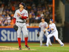NEW YORK, NEW YORK - JULY 07:  Oliver Perez #46 of the Washington Nationals watches Wilmer Flores #4 of the New York Mets three run home run in the fifth inning at Citi Field on July 7, 2016 in the Flushing neighborhood of the Queens borough of New York City.  (Photo by Mike Stobe/Getty Images)