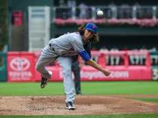 PHILADELPHIA, PA - JULY 17: Jacob deGrom #48 of the New York Mets throws a pitch in the first inning during a game against the Philadelphia Phillies at Citizens Bank Park on July 17, 2016 in Philadelphia, Pennsylvania. (Photo by Hunter Martin/Getty Images)