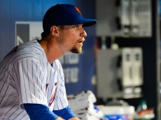 NEW YORK, NY - AUGUST 12: Logan Verrett #35 of the New York Mets looks on after being pulled from the mound during a game against the San Diego Padres at Citi Field on August 12, 2016 in the Queens borough of New York City.  (Photo by Alex Goodlett/Getty Images)
