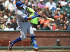 SAN FRANCISCO, CA - AUGUST 20:  Yoenis Cespedes #52 of the New York Mets hits an rbi double scoring Jose Reyes #7 against the San Francisco Giants in the top of the first inning at AT&T Park on August 20, 2016 in San Francisco, California.  (Photo by Thearon W. Henderson/Getty Images)