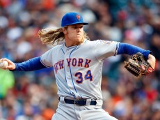 SAN FRANCISCO, CA - AUGUST 21: Noah Syndergaard #34 of the New York Mets pitches against the San Francisco Giants during the first inning at AT&T Park on August 21, 2016 in San Francisco, California.  (Photo by Jason O. Watson/Getty Images)