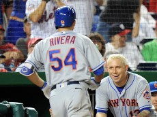 WASHINGTON, DC - SEPTEMBER 13:  T.J. Rivera #54 of the New York Mets celebrates with Asdrubal Cabrera #13 after hitting what would become the game-winning home run in the tenth inning against the Washington Nationals at Nationals Park on September 13, 2016 in Washington, DC. It was his first career home run. New York won the game 4-3.  (Photo by Greg Fiume/Getty Images)