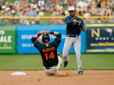 SCOTTSDALE, AZ - MARCH 11:   Shortstop Luis Sardinas #62 of the Milwaukee Brewers throws to first base over Casey McGehee #14 of the San Francisco Giants to complete a double play during the fourth inning of a Cactus League game at Scottsdale Stadium on March 11, 2015 in Scottsdale, Arizona.  (Photo by Ralph Freso/Getty Images)