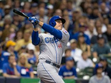 MILWAUKEE, WI - AUGUST 8: Anthony Rizzo #44 of the Chicago Cubs hits a solo home run off of Jimmy Nelson #52 of the Milwaukee Brewers in the fourth inning at Miller Park on May 8, 2015 in Milwaukee, Wisconsin.  (Photo by Tom Lynn/Getty Images)