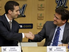 Milwaukee Brewers  Principal owner Mark Attanasio shakes hands with new  general manager David Stearns.  BREWERS_ Stearns  - The Milwaukee Brewers named  David Stearns to lead their baseball operation as the new a new general manager during a press conference at Miller Park on Monday, September 21, 2015.  Principal owner Mark Attanasio was on hand to introduce Stearns.  At 30, Stearns easily will be the youngest general manager in the major leagues. By comparison, he is less than half the age of outgoing general manager Doug Melvin, 63. And he is one year younger than Brewers rightfielder Ryan Braun, the only player signed beyond the 2017 season. Photo by Mike De Sisti / MDESISTI@JOURNALSENTINEL.COM