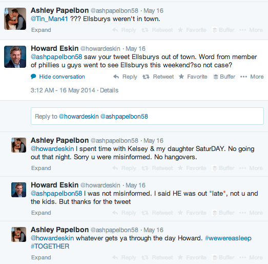 Howard Eskin questioned Ashley Papelbon about her husband's late night.