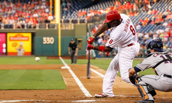 Howard eyes a ball soon to land in the garden in left center at Citizens Bank Park against the Houston Astros. August 5, 2014. Getty Images.