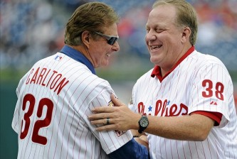 Phillies Wall of Fame pitchers Steve Carlton and Curt Schilling.