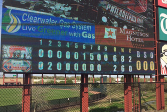 The Phillies dropped an exhibition to the University of Tampa. Photo credit: @AllyMaziarz