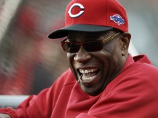 FILE - This Oct. 6, 2012 file photo shows Cincinnati Reds manager Dusty Baker laughing before Game 1 of the National League division baseball series between the San Francisco Giants and the Reds, in San Francisco. The Reds and Baker have agreed to a two-year contract extension. The Reds said a formal announcement will be made Monday afternoon, Oct. 15, 2012.The 63-year-old manager led the team to its second National League Central Division title in three seasons this year. He has been with the Reds five seasons. (AP Photo/Eric Risberg, File)