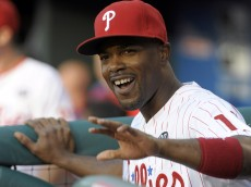 Jun 23, 2014; Philadelphia, PA, USA; Philadelphia Phillies shortstop Jimmy Rollins (11) during pre-game ceremony honoring him for becoming the Phillies all-time hits leader before game against Miami Marlins at Citizens Bank Park. Mandatory Credit: Eric Hartline-USA TODAY Sports