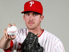 Feb 26, 2016; Clearwater, FL, USA; Philadelphia Phillies starting pitcher Aaron Nola (27) poses for a photo during photo day at Bright House Field. Mandatory Credit: Kim Klement-USA TODAY Sports