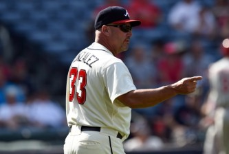 Sep 20, 2015; Atlanta, GA, USA; Atlanta Braves manager Fredi Gonzalez (33) removes starting pitcher Julio Teheran (49) (not shown) from the game against the Philadelphia Phillies during the ninth inning at Turner Field. The Braves defeated the Phillies 2-1. Mandatory Credit: Dale Zanine-USA TODAY Sports