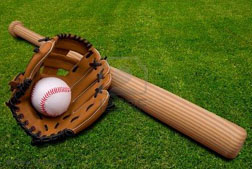 baseball-bat-ball-and-glove-isolated-on-a-field-of-grass