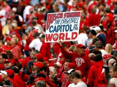 ST LOUIS, MO - OCTOBER 17:  St. Louis Cardinals fans hold up a sign as the Cardinals take on the San Francisco Giants in Game Three of the National League Championship Series at Busch Stadium on October 17, 2012 in St Louis, Missouri.  (Photo by Kevin C. Cox/Getty Images)