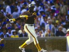 CHICAGO, IL - CIRCA 1984: Outfielder Tony Gwynn #19 of the San Diego Padres bats against the Chicago Cubs during an Major League Baseball game circa 1984 at Wrigley Field in Chicago, Illinois. Gwynn played for the Padres  from 1982-01. (Photo by Focus on Sport/Getty Images)